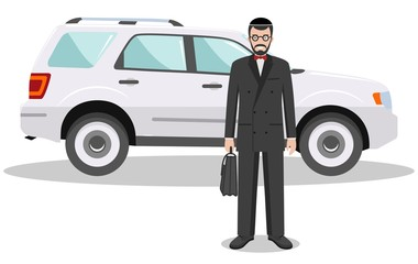 Jewish businessman standing near the car on white background in flat style. Business concept. Detailed illustration of automobile and judaic man. Flat design people character. Vector illustration.