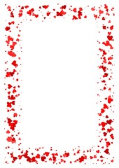 Abstract rectangle frame made of red hearts isolated on white background, A4 paper with love concept border, Valentine card