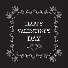 Happy Valentine's Day. Vintage, retro style. Postcard for invitations. Ornaments and frame. Vector design elements and lettering, white patterns on black background, heart with wings