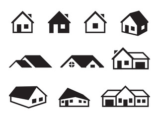 Houses icons set Wall mural