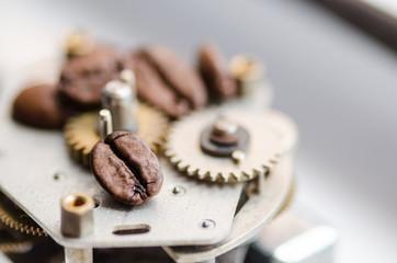 Gear, sprocket, clockwork and coffee. Coffee time - cofee break theme