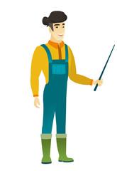 Asian farmer holding pointer stick.