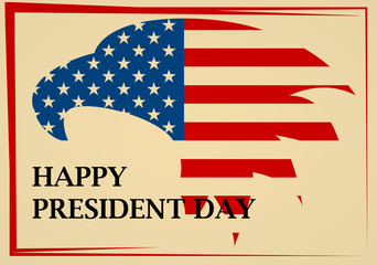 Presidents Day emblem with American eagle in red frame. Vector Illustration