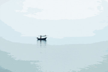 minimalism style picture,traditional fishing boat float on a peace surface wave of the sea,cloudy sky. comic halftone picture style