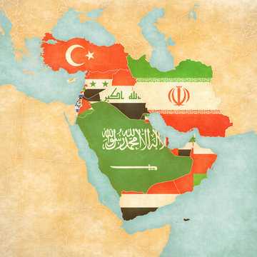 Map of Middle East - Asia - All Countries