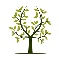Black Tree with Green Leafs. Vector Illustration.