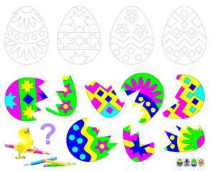 Logic puzzle game for children. Find the second part of each broken egg. Paint black and white drawings in corresponding colors. Vector cartoon image.