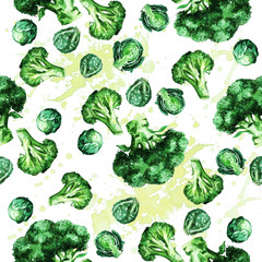 Broccoli and Sprouts seamless pattern. Watercolor Illustration.