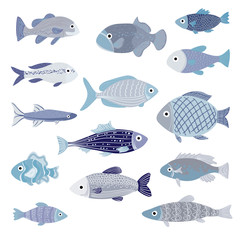 Vector Set of of Cartoon Blue Fishes