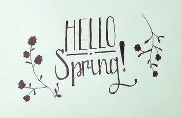 Hello spring calligraphy note