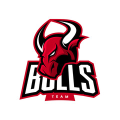Red furious bull sport vector logo