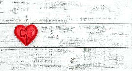 Valentines Day Love Red heart wooden background