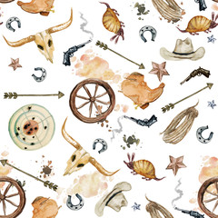Wild West. Watercolor seamless pattern