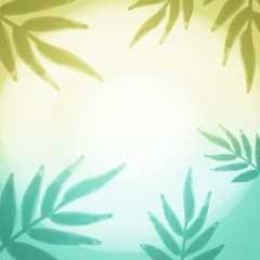 Palm leaves gradient watercolor illustration