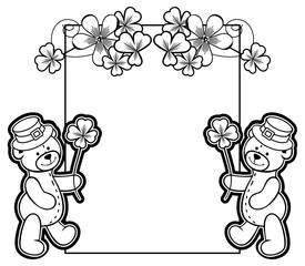 Outline  frame with shamrock contour and teddy bear. Vector clip art.