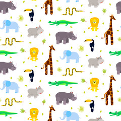 Zoo animals kid seamless pattern vector. Giraffe, lion, rhino, crocodile and elephant on white background.