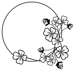 Black and white frame with shamrock contour.