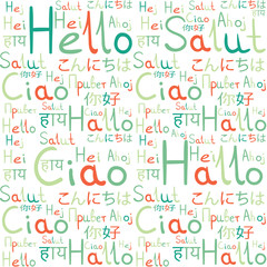 Hello all languages white background pattern green freindship 4