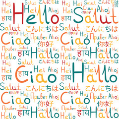 Hello all languages white background pattern meadow freindship 4