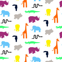 Cute zoo animal silhouettes toddler seamless pattern vector. Colorful giraffe, lion, rhino, crocodile, toucan and elephant on white background.