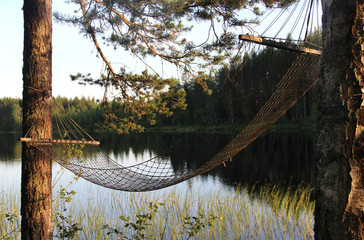 White Finnish nights, nature and lak