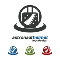 Astronaut Helmet Design Logo Vector