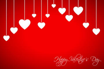 Happy Valentines day card with hearts on red background, vector