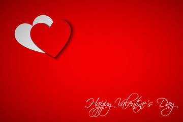 Happy Valentines day card with heart on red background, vector i