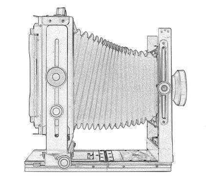 Illustration of large format camera