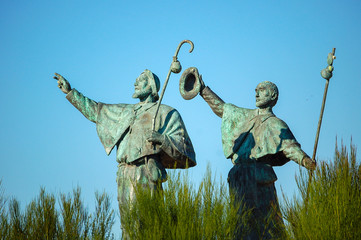 Statue of Pilgrims in the outskirts of Santiago de Compostela in Galicia, Spain Wall mural