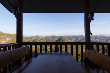 balcony on mountains sunny day in Mae Hong Son