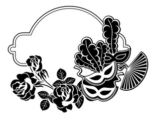 Silhouette round frame with carnival masks. Vector clip art.