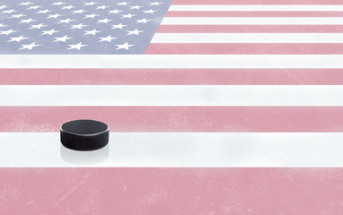 Hockey Puck and USA Flag on Ice With Copy Space