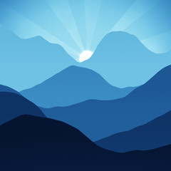 blue, mountains, hills, peaks sun peeking over the mountain top, digital illustration