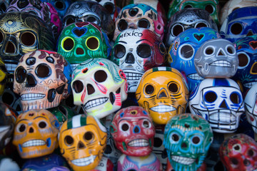 Day of the Dead skulls Día de los Muertos holiday colorful skulls