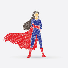 Super hero woman standing arms across the chest design using grunge brush graphic vector.