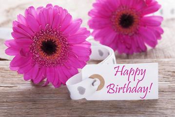 Pink Spring Gerbera, Label, Text Happy Birthday