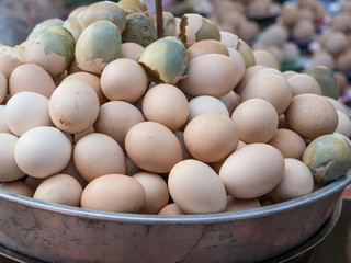 Boiled egg containing undeveloped embryo in thailand morning market.