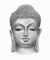 Hand drawn monochrome Isolated Buddha head, which is in deep meditation executed in watercolor