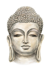 Hand drawn Isolated Buddha head, which is in deep meditation executed in watercolorHead Smiling Buddha