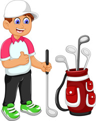 funny man cartoon playing golf thumb up