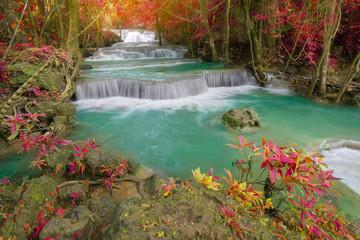 Huay Mae Kamin Waterfall, beautiful waterfall in autumn forest,