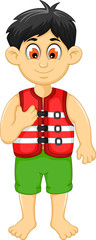 cute boy cartoon wearing life jacket