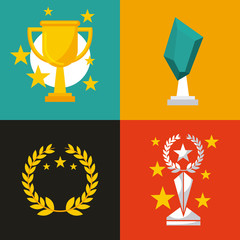 winner prizes items over colorful squares. vector illustration