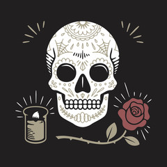 Day of the Dead skull, candle, rose