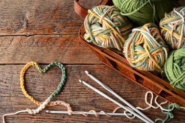 Crochet Yarn and Crochet Hook Background