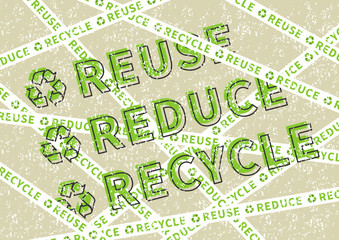 Reuse Reduce Recycle vector illustration. Eco friendly ecological creative concept with recycle sign. Eco poster on grunge texture background graphic design.