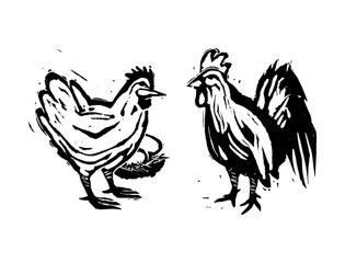 Woodcut Hen & Rooster