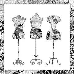 Vector black and white dress forms illustration