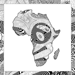 Vector black and white African continent illustration